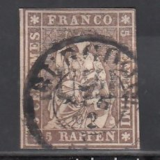 Sellos: SUIZA, 1854-62 YVERT Nº 26, 5 R. MARRÓN. Lote 231817655