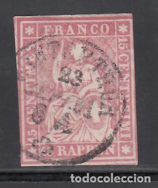 SUIZA, 1854-62 YVERT Nº 28, 15 R. ROSA. (Sellos - Extranjero - Europa - Suiza)