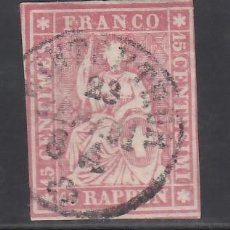 Sellos: SUIZA, 1854-62 YVERT Nº 28, 15 R. ROSA.. Lote 231818495