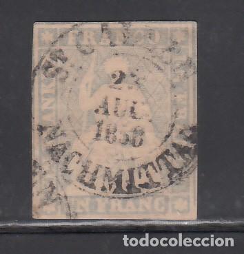 SUIZA, 1854-62 YVERT Nº 31, 1 F. GRIS. (Sellos - Extranjero - Europa - Suiza)