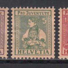 Sellos: SUIZA, 1916 YVERT Nº 154 / 156 /*/, PRO - JUVENTUD.. Lote 231828465