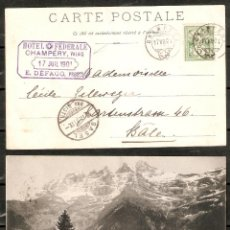 Sellos: SUIZA. CARTA POSTAL 1901. CHAMPÉRY. MARCA HOTEL FÉDÉRALE CHAMPÉRY.. Lote 233840675