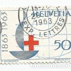 Sellos: LOTE DE 9 SELLOS USADOS DE SUIZA DE 1963-CENTENARIO CRUZ ROJA INTERNACIONAL- YVERT 709-VALOR 50 CT. Lote 236134470
