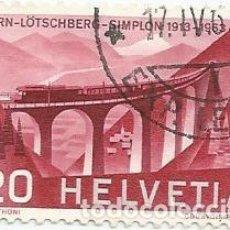 Sellos: LOTE DE 9 SELLOS USADOS DE SUIZA DE 1963-VIADUCTO FERROCARRIL DE LOTSCHBERG-YVERT 707-VALOR 20 CT. Lote 236207545