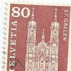 Sellos: SELLO USADO DE SUIZA DE 1960- CATEDRAL DE SAN GALO- YVERT 655- VALOR 80 CENTIMOS. Lote 236351190