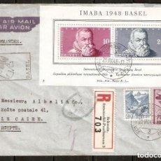 Sellos: SUIZA. IMABA 1948 BASEL CIRCULADA AL CAIRO. SCHWEIZ. AUTOMOBIL-POSTBUREAU. Lote 236568790