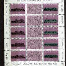 Sellos: HOJA BLOQUE DE SUIZA 1982 TRENES. Lote 239442170