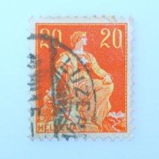 Sellos: SELLO POSTAL SUIZA 1908, 20 CT, HELVETIA CON ESPADA , USADO. Lote 242942900
