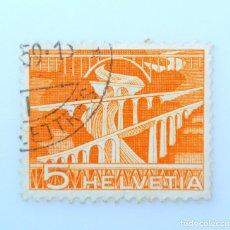 Sellos: SELLO POSTAL SUIZA 1949, 5 CT, PUENTES DE NIÑERA CERCA DE ST. GALLEN , USADO. Lote 242943780