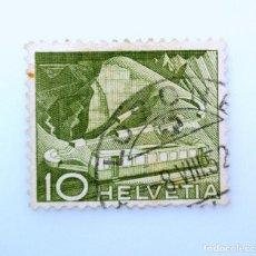 Sellos: SELLO POSTAL SUIZA 1949, 10 CT, FERROCARRIL DE MONTAÑA EN ROCHER DE NAYE, USADO. Lote 242995795