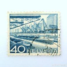 Sellos: SELLO POSTAL SUIZA 1949, 40 CT, PUERTO DEL RIN BASILEA, USADO. Lote 243005175
