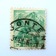 Sellos: SELLO POSTAL SUIZA 1936, 5 CT, MONTAÑA PILATUS VISTA DESDE STANSSTAD, USADO. Lote 243010660