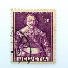 Sellos: SELLO POSTAL SUIZA 1958, 1,20 FR, LIDER POLÍTICO JÜRG JENATSCH 1596-1639, USADO. Lote 243011965