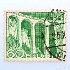 Sellos: SELLO POSTAL SUIZA 1949, 60 CT, VIADUCTO FERROVIARIO CERCA DE FILISU, USADO. Lote 243012735
