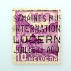 Sellos: SELLO POSTAL SUIZA 1936, 10 CT, CASTILLO DE CHILLON Y DENTS DU MIDI, TIPO I, USADO. Lote 243013970