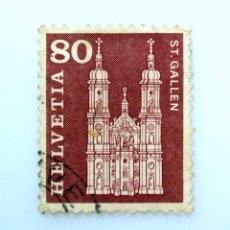 Sellos: SELLO POSTAL SUIZA 1960, 80 CT, CATEDRAL DE ST. GALLEN, USADO. Lote 243077025
