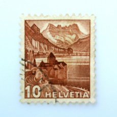 Sellos: SELLO POSTAL SUIZA 1942, 10 CT, CASTILLO DE CHILLON Y DENTS DU MIDI, USADO. Lote 243081760