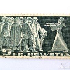 Sellos: SELLO POSTAL SUIZA 1942, 5 FR, PARLAMENTOS DE STANS, USADO. Lote 243115260