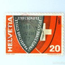 Sellos: SELLO POSTAL SUIZA 1957, 20 CT, ESCUDO DE ARMAS, ESCUDO CON INSCRIPCIÓN Y ESCUDO SUIZO, USADO. Lote 243123910