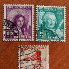 Sellos: SUIZA N°316/18 USADOS, PRO-JUVENTUD 1938 (FOTOGRAFÍA REAL). Lote 243860720