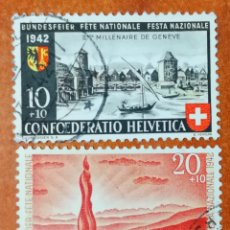 Sellos: SUIZA N°378/79 USADOS, FIESTA NACIONAL GINEBRA 1942 (FOTOGRAFÍA REAL). Lote 243871420