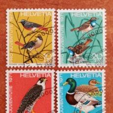 Sellos: SUIZA N°891/94 USADA, AVES 1971 (FOTOGRAFÍA REAL). Lote 243993845