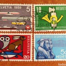 Sellos: SUIZA N°621/24 USADOS, AÑO 1959 (FOTOGRAFÍA REAL). Lote 244099525