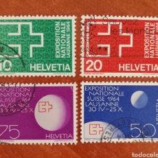 Sellos: SUIZA, EXPOSICIÓN NACIONAL SUIZA 1964 USADOS (FOTOGRAFÍA REAL). Lote 244184250