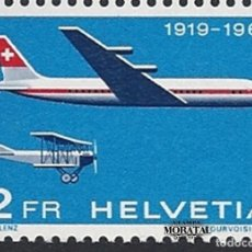 Timbres: 1969 SUIZA YV A-46 50º ANIV. CORREO AÉREO OFICIAL (YVERT&TELLIER). Lote 257372030