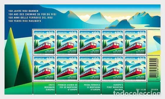 SWITZERLAND 2021 - 150 YEARS OF RIGI RAILWAYS SHEET (Sellos - Extranjero - Europa - Suiza)