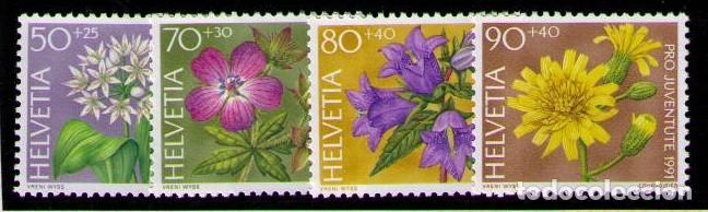 SUIZA 1991 - FLORES - YVERT Nº 1383/1386** (Sellos - Extranjero - Europa - Suiza)