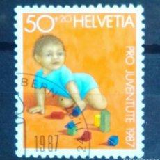 Sellos: SUIZA PROJUVENTUD TASAS 1987 JUGUETES SELLO USADO. Lote 262847745