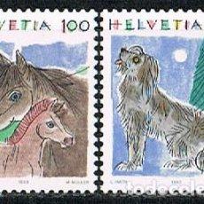 Sellos: SUIZA IVERT Nº 1419/20, CABALLO Y PERRO, NUEVO, SERIE COMPLETA. Lote 269274513