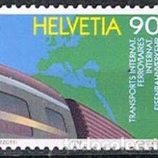 Sellos: SUIZA IVERT 1416, CENTENARIO DE LA OFICINA INTERNACIONAL DE TRANSPORTES FERROVIARIOS, USADO. Lote 269277263