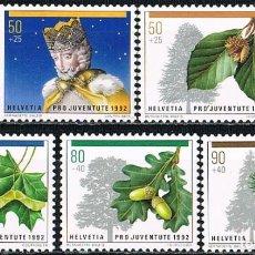 Sellos: SUIZA IVERT 1411/5, NAVIDAD 1992, NUEVO, SERIE COMPLETA. Lote 269278953