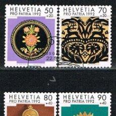 Sellos: SUIZA IVERT 1399/402, POR LA PATRIA, ARTESANIA POPULAR SUIZA, USADO, SERIE COMPLETA. Lote 269283658