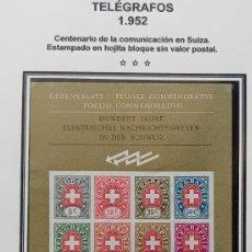 Sellos: SUIZA - CENTENARIO TELEGRAFOS AÑO 1952 - HOJA BLOQUE SIN VALOR POSTAL - 2 FOTOS. Lote 269330628