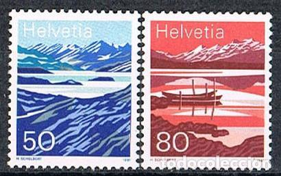 SUIZA EDIFIL Nº 1387/8 , LAGO DE MELCHY Y LAGO DE MOESOLA, NUEVO ***, SERIR COMPLETA (Sellos - Extranjero - Europa - Suiza)