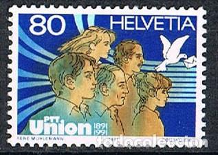 SUIZA EDIFIL Nº 1382, CENTENARIO DEL PTT UNIÓN, SINDICATOS DE CORREOS, USADO (Sellos - Extranjero - Europa - Suiza)
