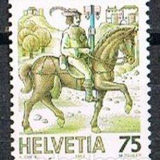 Sellos: SUIZA EDIFIL Nº 1313, EL TRANSPORTE POSTAL A TRAVÉS DE LOS TIEMPOS, MENSAJERO A CABALLO, NUEVO. Lote 269463058