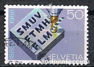 SUIZA IVERT 1305, CENTENARIO SINDICATO DE TRABAJADORES METALURGICOS Y RELOJERIA, USADO (Sellos - Extranjero - Europa - Suiza)