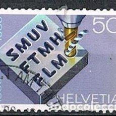 Sellos: SUIZA IVERT 1305, CENTENARIO SINDICATO DE TRABAJADORES METALURGICOS Y RELOJERIA, USADO. Lote 269463373