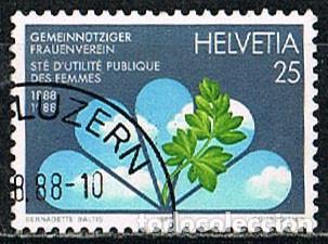 SUIZA IVERT 1293, CENTENARIO DE LA SOCIEDAD DE UTILIDAD PÚBLICA PARA LAS MUJERES, USADO (Sellos - Extranjero - Europa - Suiza)