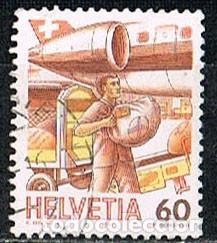 SUIZA IVERT 1268, EL TRANSPORTE POSTAL ATRAVÉS DE LOS TIEMPOS, CARGA DEL CORREO EN UN AVIÓN, USADO (Sellos - Extranjero - Europa - Suiza)