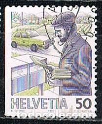 SUIZA IVERT 1267 A, EL TRANSPORTE POSTAL A TRAVÉS DE LOS TIEMPOS, CARTERO DE HOY, DENTADO 3 LADOS, U (Sellos - Extranjero - Europa - Suiza)