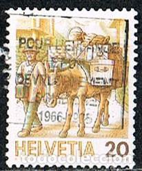 SUIZA IVERT 1264, EL TRANSPORTE POSTAL A TRAVÉS DE LOS TIEMPOS, TRANSPORTE SOBRE MULAS, USADO (Sellos - Extranjero - Europa - Suiza)