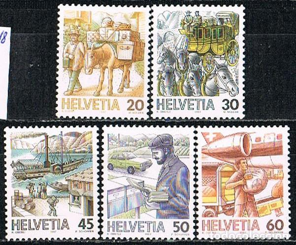 SUIZA IVERT 1264/8, EL TRANSPORTE POSTAL A TRAVÉS DE LOS TIEMPOS, NUEVO, SERIE COMLETA (Sellos - Extranjero - Europa - Suiza)