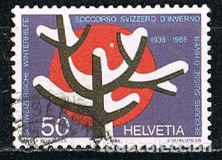 SUIZA IVERT 1257, 50 ANIVERSARIO DEL SOCORRO SUIZO DE INVIERNO, USADO (Sellos - Extranjero - Europa - Suiza)