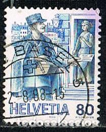 SUIZA IVERT 1254, EL TRANSPORTE POSTAL A TRAVÉS DE LOS SIGLOS: CARTERO DE AYER (Sellos - Extranjero - Europa - Suiza)