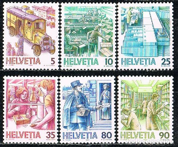 SUIZA IVERT 1250-1255, EL TRANSPORTE POSTAL A TRAVÉS DE LOS SIGLOS, NUEVO, SERIE COMPLETA (Sellos - Extranjero - Europa - Suiza)